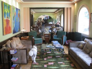 A glimpse of one of Le Macassar's rooms and dogs.
