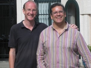 Ian and Miguel in their courtyard.