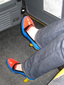 The shoes in a London taxi.