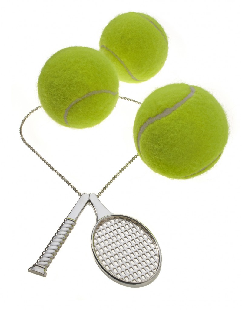 I shot the necklace with real tennis balls to give you an idea of the size.