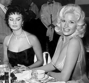 I've always loved this photo of Sophia Loren giving Jayne Mansfield the side-eye.