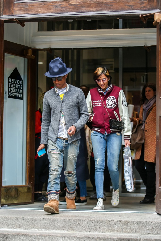 Pharrell Williams and his wife Helen Lasichanh shopping in New York City