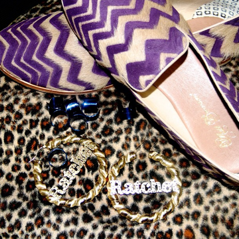 "Beyonce's ""ratchet"" nameplate hoop earrings, from her Instagram via Necole Bitchie. Click for source."