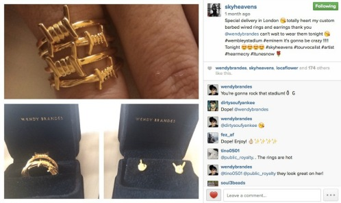Sky Instagrammed the jewelry. Click the screen shot to follow her on IG.