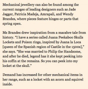 Wendy Brandes Jewelry in the Financial Times