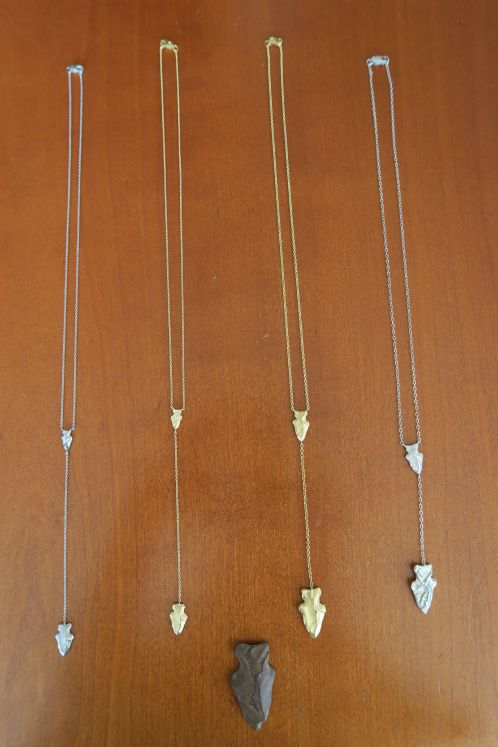 From left: small platinum necklace; small gold necklace; large gold necklace; large silver necklace.