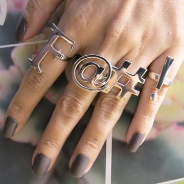 Swear rings ($380 for all four in silver) seen on gorgeous blogger Beautifully Invisible. Click to purchase.
