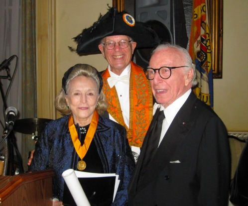 Barbaralee, her husband Carl Spielvogel, and the president in his hat. Courtesy of the Saint Nicholas Society.