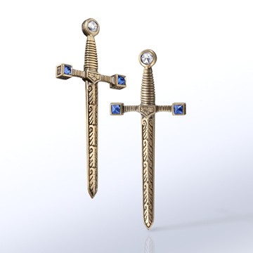 Matilda sword earrings.