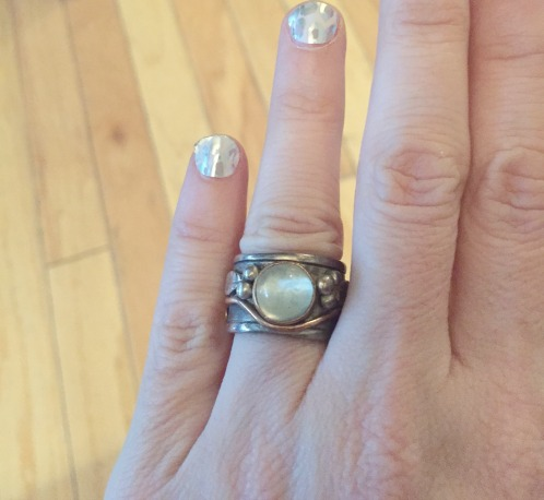 My moonstone ring from Dublin is quite tarnished. I'd clean it except I only wear my own designs these days.