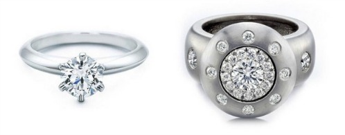 On the left, my customer's original ring. On the right, a redesign I did with the same diamond. (No robbery involved!)