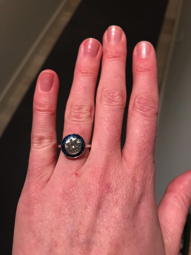 Sapphire-Halo Engagement Ring | Wendy Brandes Jewelry Blog
