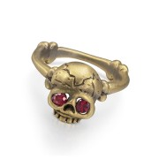 Memento Mori Skull Ring With Rubies