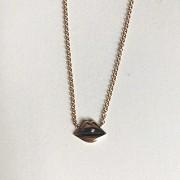 Lips Emoji Choker Necklace - 18K rose gold, diamond