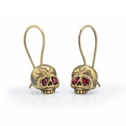 Memento Mori Skull Earrings With Rubies